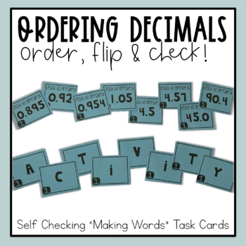 "Ordering Decimals Task Cards - ""Making Words"" Activity"