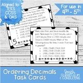 Ordering Decimals Task Cards | TEKS 4.2f | TEKS 5.2b | Mat