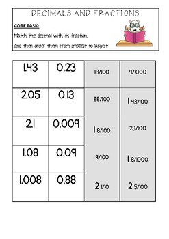 Ordering Decimals and Fractions: 2 Differentiated Worksheets