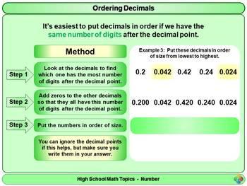 Ordering Decimals for High School Math