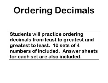 Ordering Decimals to the Thousandths