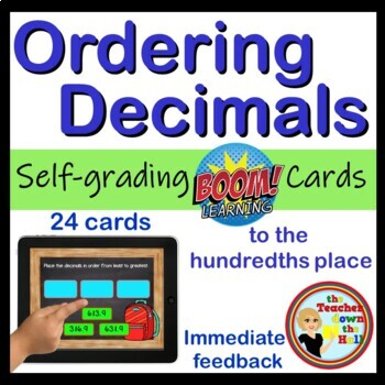 Ordering Decimals to the hundredths place - BOOM Cards! (24 Cards)