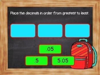 Ordering Decimals to the hundredths place - BOOM Cards! (24 Self-checking Cards)