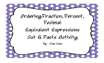 Ordering Equivalent Fractions, Decimals, and Percents
