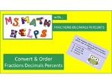 Ordering Fraction Decimal Percent