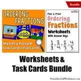 Ordering Fractions Worksheets, Order Fraction Task Cards Bundle