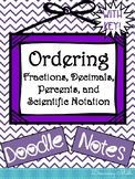 Ordering Fractions, Decimals, Percents, and Scientific Notation Doodle Notes