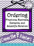 Ordering Fractions, Decimals, Percents, and Scientific Not