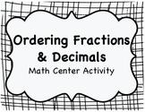 Ordering Fractions & Decimals Sort ~ Math Center Activity