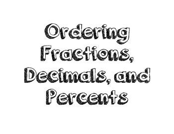 Ordering  Fractions Decimals and Percents