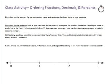 Ordering Fractions, Decimals, and Percents - Human Number Line! - Active Math