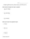 Ordering Fractions, Decimals, and Percents Worksheet