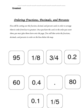 Ordering Fractions, Decimals, and Percents from Least to Greatest