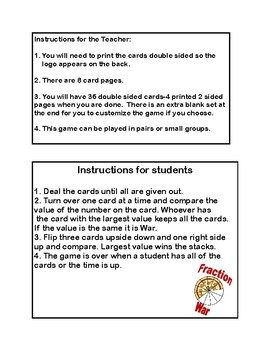 Ordering Fractions- Game of War- Grades 4,5 and 6-Station Activity
