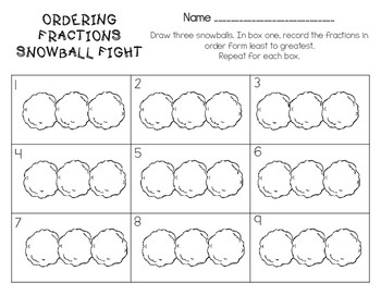 Ordering Fractions Snowball Fight Math Task