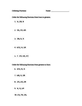 Ordering Fractions Worksheet