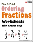 Ordering Mixed Numbers Sheets, Fraction Sorting Worksheet