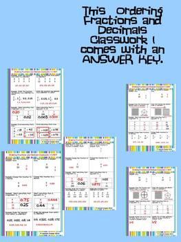 Ordering Fractions and Decimals Classwork Part 1