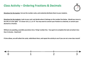 Ordering Fractions and Decimals - Human Number Line!