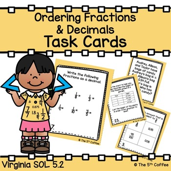 Ordering Fractions and Decimals Task Cards