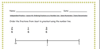 Ordering Fractions on a Number Line - Lesson Bundle 1