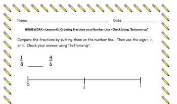 Ordering Fractions on a Number Line - Lesson Bundle 3