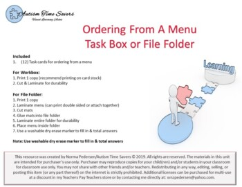 "Ordering From A Menu - ""Life Skills"" Task Box or File Folder"