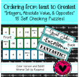 Ordering Integers, Absolute Value and Opposites Self Check
