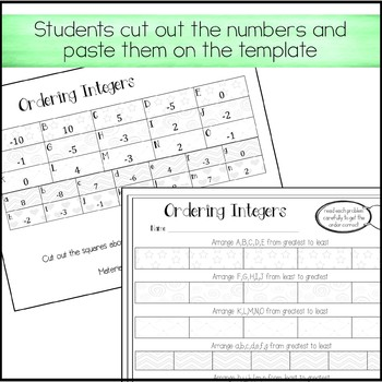 Ordering Integers Activity (Positive and Negative)
