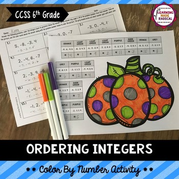 Ordering Integers Color By Number Activity