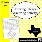 Ordering Integers Coloring Activity (6.2D)