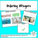 Ordering Integers - Integers - Activities - Middle School