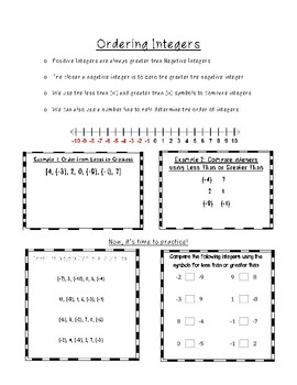 Ordering Integers Interactive Notes