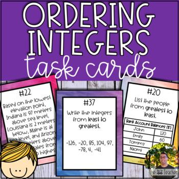 Ordering Integers Task Cards