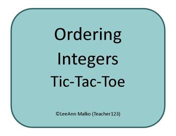 Ordering Integers Tic-Tac-Toe