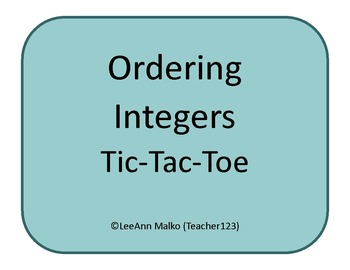 Ordering Integers Tic-Tac-Toe