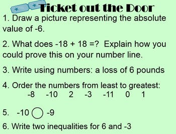 Ordering Integers and Absolute Value (7-1.2a)