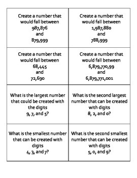 Ordering Large Numbers Task Cards