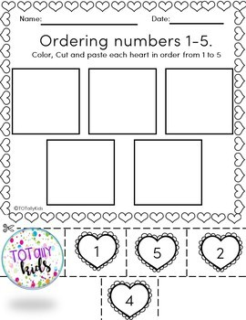 Valentines: Ordering & Matching Numbers 1-5 B&W