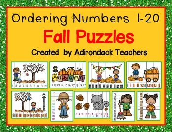 Ordering Number Puzzles Fall Theme