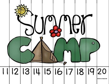 Ordering Number Puzzles 0-20 Camping Theme