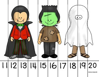 Ordering Number Puzzles 0-20 Halloween Theme