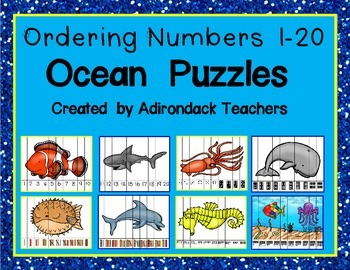 Ordering Number Puzzles 0-20 Ocean Theme