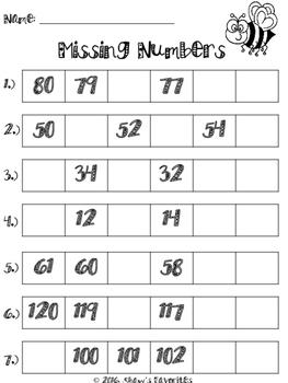 Ordering Number's Worksheets {1.NBT.1}