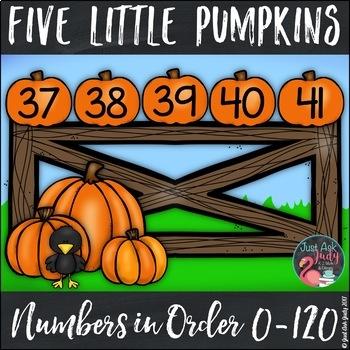 Ordering Numbers 0-120 Five Little Pumpkins