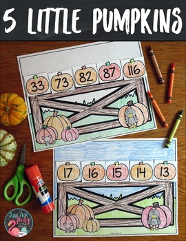 Ordering Numbers 0-120 Five Little Pumpkins