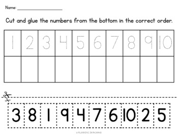 Ordering Numbers 0-6 and 1-10 (Cut and Glue)