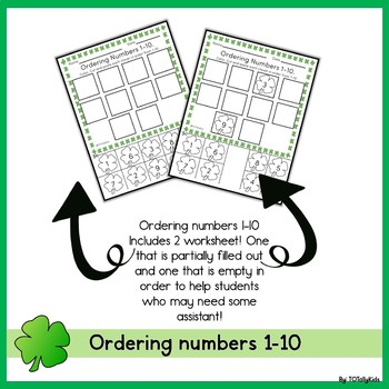 Ordering Numbers 1-10 St. Patrick's Day  Edition