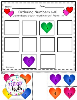Ordering Numbers 1-10 Valentines Edition