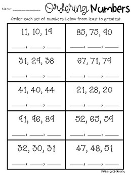 Ordering Numbers (2 Digit): Greatest to Least / Least to ...